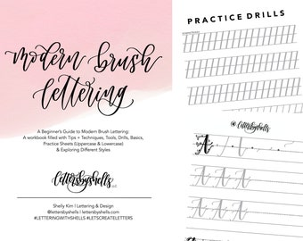 Beginner's Guide to Modern Brush Lettering | Modern Calligraphy | Digital Download | Workbook | Practice Sheets | Guide for Beginners