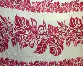 Tahitian Lei Floral Fringed Sarong Pareu/Pareo/Tupenu ,Lavalava Or Beach Wear.