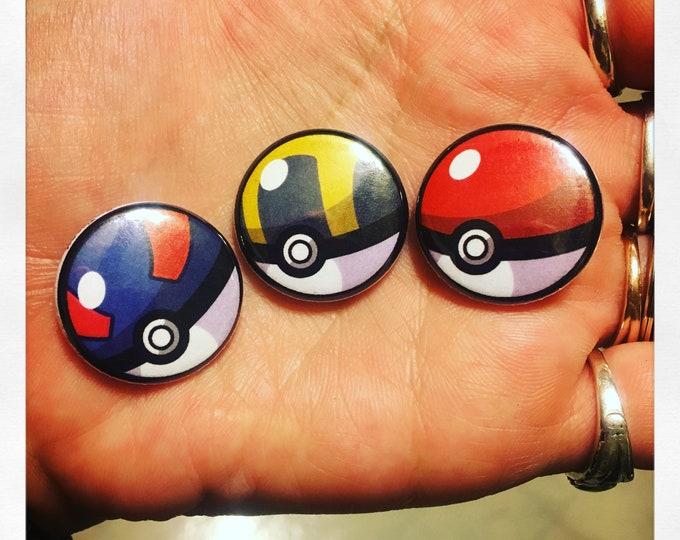Gamer Inspired Button or Magnet Flair Award Pinback Impulse Item 3 pack Pokemon