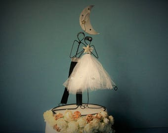 Custom wedding cake topper, Wedding wire cake topper figurine, Vintage, Personalized cake topper, Bride and groom topper, Rustic cake topper