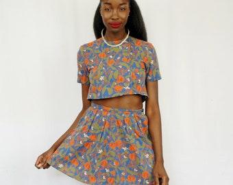 Blue/green/orange floral print short sleeve crop top and mini skirt set 1990s 90s VINTAGE