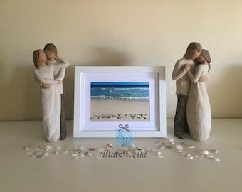 Heart Photo Print Wall Art, Beach Theme, Beach Decor, Words Written Beach Sand, Love heart, Wedding Gift, Beach Photography, Coastal Decor