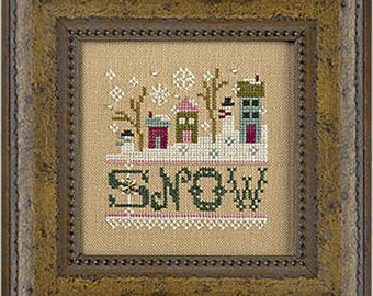 Lizzie Kate - a little Snow K66 - Counted Cross Stitch Pattern Chart, Fabric, embellishments