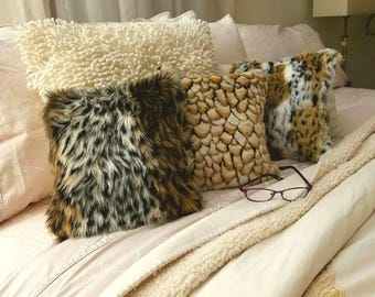 SALE, Small Faux Fur Pillow Animal Print Fur Pillow Farmhouse Decor Home Womens Gifts for Her