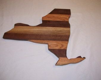 New York state cutting board  made from oak and walnut