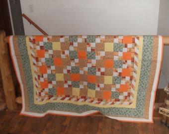 Orange Tone Throw Quilt