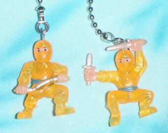 Set of Two ~ Orange Ninja Warriors Martial Arts ~ Ceiling Fan Pull Chains