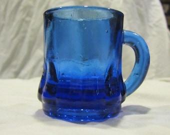 Small vintage cobalt blue mug, cobalt shot glass