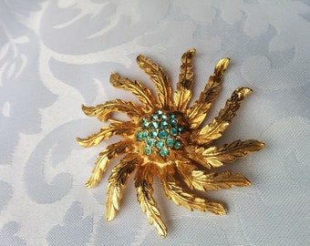Vintage Sunburst, Flower Brooch with Aqua Crystals