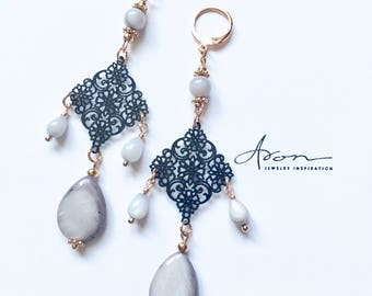 Earrings with shell beads.