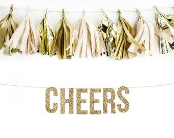 CHEERS Glitter Garland. Wedding Photo Prop. Wedding Photos. Wedding Reception