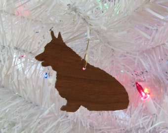 Pembroke Welsh Corgi Ornament in Wood or Mirror Acrylic Customizable with Name
