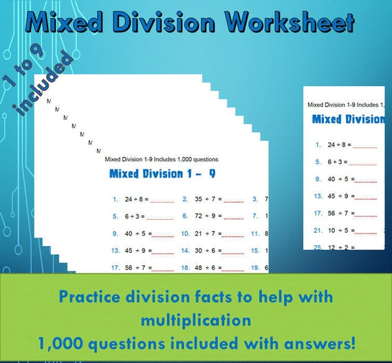 Division Facts Drill Worksheet pdf/ Year 4 5 6/ Grade