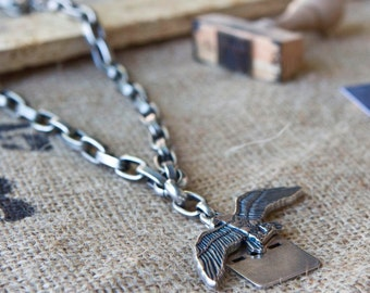 Silver Necklace,oxidized silver,eagle pendent,militant style,street fashion,urban,rock, Gift for her,Silver Chain,Silver pendent,edgy, cool