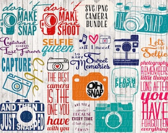 svg bundle, camera clipart, svg files, camera sayings, camera quotes, vector files, png files, commercial use svg / clip art, cutting files