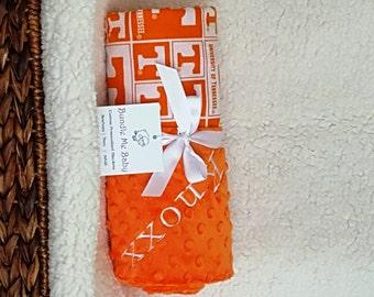University of Tennessee Baby Blanket NAME Football Basketball Personalized UT Vols Gift Set Alabama Arizona Auburn UT Vols