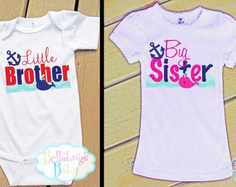 Nautical Whale Big Sister Little Brother Outfit - Bodysuit or Tshirt - Photo prop - Newborn
