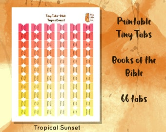 Printable books of the Bible tabs in pink, orange & yellow. Great for Bible journaling, bible study and church