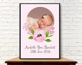 Personalised Photo Birth Announcement Digital Print