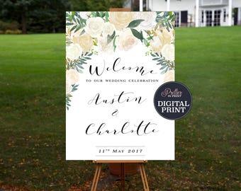 Wedding Welcome Sign PRINTABLE, Spring Wedding, Summer Wedding, Bridal Shower, Engagement, Wedding Shower, Formal, Ivory, Gold