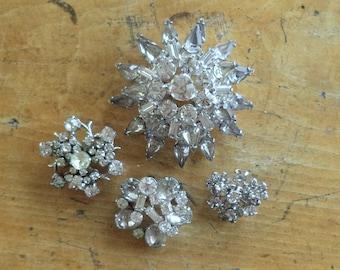 LOT Collection 4 Vintage Crystal Rhinestone Brooches Vintage Wedding