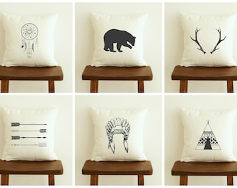 Native American Throw Pillow Cover, Native American Decor, Mix & Match, 16x16 Charcoal Pillow Case, Zippered Pillow, Decorative Couch Pillow