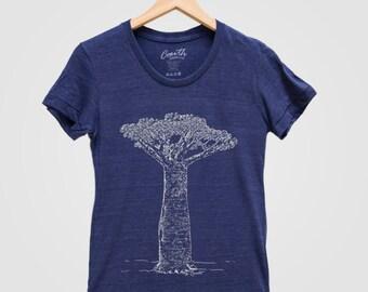 Women Shirt Custom Hand Screen Printed Baobab Tree Tri-Blend Short Sleeve Tshirt Available: S, M, L, XL