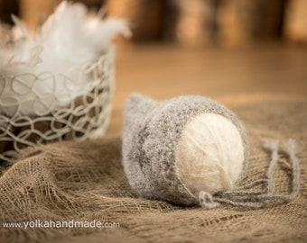 Alpaca-silk handmade knitted pixie bonnet, newborn baby photo props, handmade, natural, wool