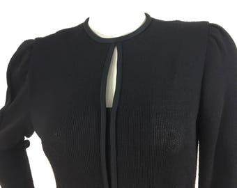 1980s vintage black knit dress, 80s warm fall/winter dress