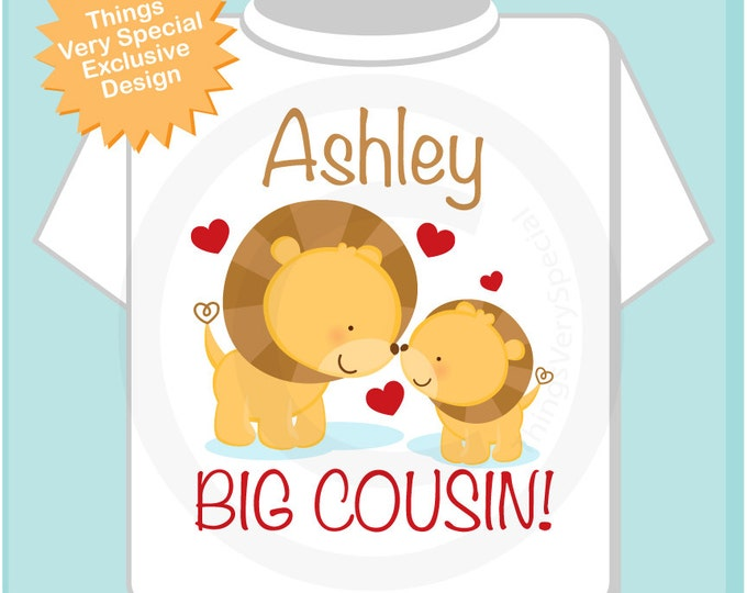 Lion Big Cousin Shirt - Lion Big Cousin Onesie - Big Little Cousin - Big Cousin tshirt - Big cousin Onsie - Personalized gift 09182012d