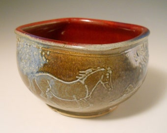 Square Soup Bowl - 2 Ghost Horses and Trees