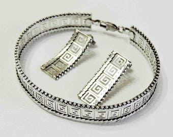 Greek Key Bracelet and Earrings Vintage Sterling Silver From Mexico