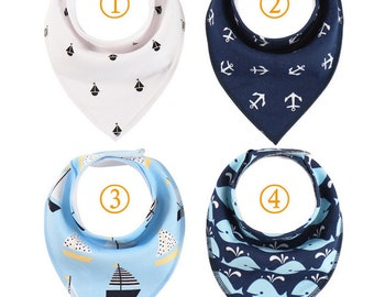 Sailor Blue Baby  Bandana bibs set of 4