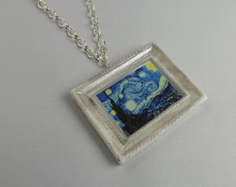 "Necklace with mini paintings ""art on the neck"""