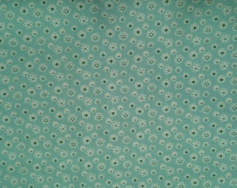 Tiny Flowers on Turquoise Background - Cotton Woven Fabric