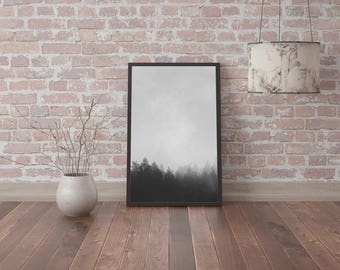 Physical poster print photo image picture black and white wall art misty foggy forest silhouette fog, printable posters minimalism