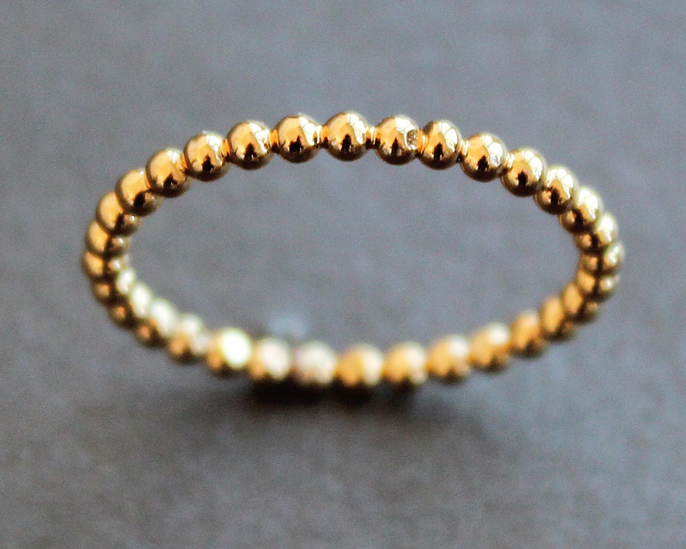 Yellow Gold Vermeil 19mm Beaded Dot Bubble Ring Various
