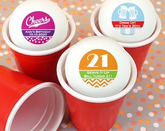 Personalized Ping Pong Balls, Birthday Party Favors, 21st Birthday Party - Set of 24