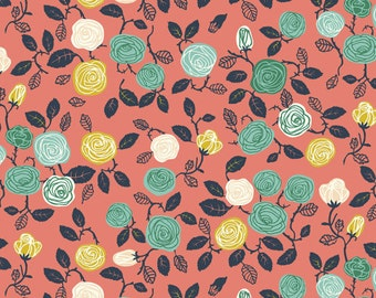 KNIT, Roses Coral, Hidden Garden Collection, Birch Fabrics, Organic Knit Fabric, Jersey Knit