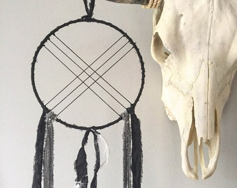 Bohemian Wall Hanging - Boho Dream Catcher - Modern Dream Catcher - Black Dream Catcher - Black Dreamcatcher with White Goose Feathers