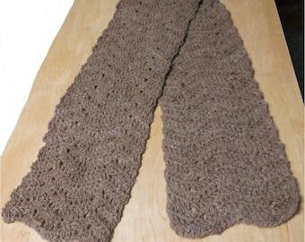 "Crocheted Scarf 100% Llama Fiber Wool, 5 1/2 feet long x 7 1/2"" wide, Reddish Brown, Soft and Beautiful!"