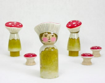 Mushroom Friends- Single Boy Figure,  Wooden Peg doll, mushroom toy, Waldorf Inspired, toadstool toy, handmade kids toy, gnomewerks toys