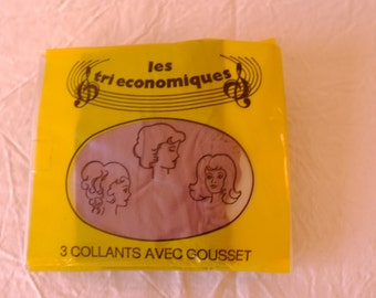 "Set of 3 pantyhose nylon seventies vintage stockings tights woman, ""Les Tri economic"" brand, women gift, mothers"