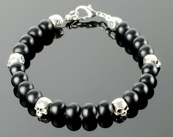 Mens Skull Skull bracelets for men with black gemstones