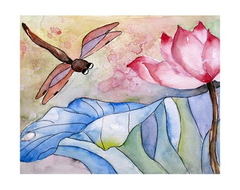 Dragonfly Pink Lotus Flower Watercolor Painting, Enchanting Garden Wall Art Prints, 8x10