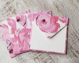 Mini Envelopes // Set of 4 // Floral Envelopes // Pink Envelopes // 3x3 Envelopes // Thank You Cards // Just a Note