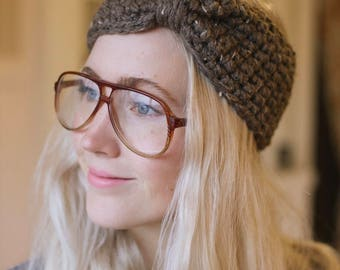 Ready to Ship turban headband in speckled taupe