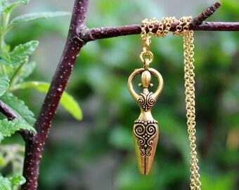 Goddess Pendant Necklace.Sterling Silver Chain.Gold Filled Chain.Fertility Goddess.Bridal.Valentine.graduation.Birthday.Gold.Gift.Handmade.
