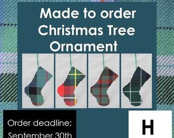 Mini Tartan Stocking Ornament, Tartans beginning with H like Hamilton, Hannay, Hay, Harris, Henderson, Home, Hunter, Hume and Holyrood