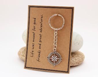 Gift for Travellers, Travel Lover Gift, Traveller Keyring, Compass Keychain, Travel Buddy Gift, Backpacker Gift, Adventurer Gift, Explorer